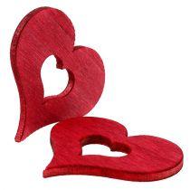 Coeur en bois pour saupoudrer rouge 4cm 72pcs