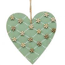 Coeur en bois à suspendre vert / nature 10cm 4pcs