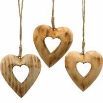 Pendentif décoratif coeur, coeur en bois, Saint Valentin, pendentif en bois, décoration de mariage 6pcs