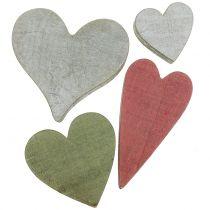 Coeurs en bois gris / rouge / vert 3-6.5cm 8pcs
