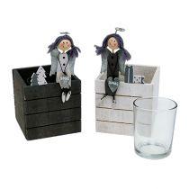 Boîte en bois avec ange 8cm x 8cm gris, blanc 2pcs