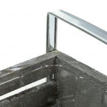 Cagette en bois grise 20 x 9 cm H. 6 cm avec poignées