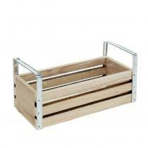 Cagette en bois naturel 20 x 9 cm H. 6 cm avec poignées