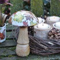 Décoration champignon en bois feuilles d'automne blanc, décoration de table champignon coloré Ø10cm H15cm