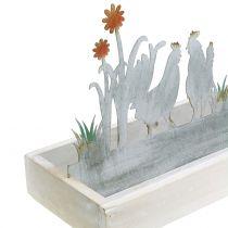 Tablette en bois avec décor de printemps en métal H43cm