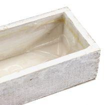 Bol en bois pour planter blanc 30cm x 9cm x 6cm