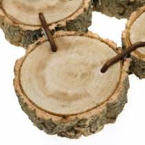 Plateau décoratif en tranches de bois, nature 37 × 22,5 cm