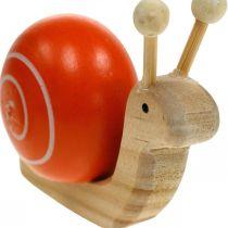 Escargots en bois pour la décoration, printemps, escargot de jardin vert-orange, décoration de table 6pcs
