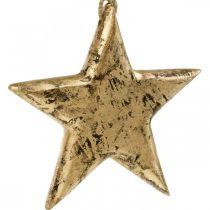 Etoile à accrocher, décoration bois effet doré, Avent 14cm × 14cm