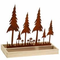 Plateau bois silhouette forêt rouille 30cm x 15cm