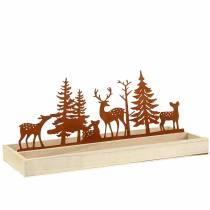 Plateau bois forêt avec animaux 35cm x 15cm