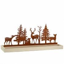 Plateau bois forêt avec animaux 50cm x 17cm
