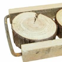Plateau décoratif en bois avec des tranches d'arbre 34cm x 12cm H3cm