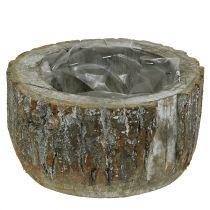 Pot à plantes en bois blanchi Ø 20 cm H. 10 cm