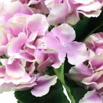 Fleurs d'hortensia en soie dans un pot lilas 35cm