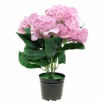 Hortensia en pot artificiel rose 35cm