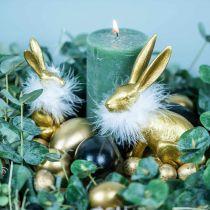 Oeufs de poule Oeufs soufflés dorés Décoration de Pâques 12pcs