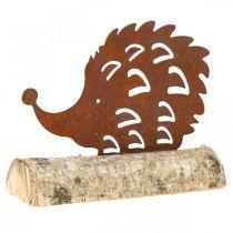 Patine hérisson sur le socle en bois 14,5cm x 17,5cm