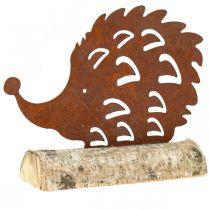Patine hérisson sur le socle en bois 26cm x 18cm