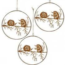 Pendentif en métal, hérisson sur branche, décoration automne, anneau décoratif, cadre en acier inoxydable Ø15.5cm 3pcs