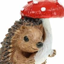 Figurine d'automne hérisson avec champignon H7cm 6pcs