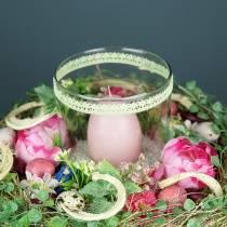 Bouquet de fleurs avec pâquerettes rose 23 cm