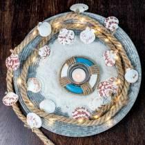 Corde de jute avec coquilles et restaurant de poissons décoratifs LED 200cm