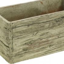 Jardinière béton rectangulaire aspect bois marron 23×10,5cm H11cm