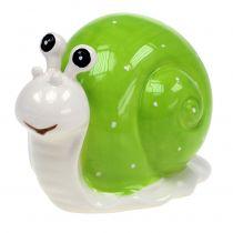 Escargot en céramique 12 cm vert 4 p.