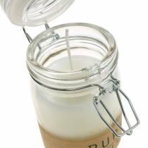 Bougie dans une décoration en verre avec couvercle Bougie en cire Pure Nature Huile d'olive à la cire d'abeille