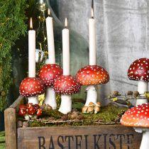 Bougeoir champignon rouge, blanc Pour 4 bougies bâton 28,5 × 17 × 16cm