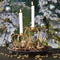 Bougeoir couronne, décoration de table, Avent, couronne métal Doré Ø14cm H13cm