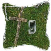 Coussin mousse et vignes avec croix pour arrangement grave 25x25cm