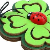 Trèfle avec coccinelles pour accrocher Vert 7cm 7pcs
