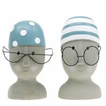 Tête de nageur déco avec lunettes et bonnet de bain bleu blanc H15cm / 16cm 2pcs