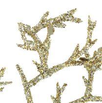 Branche de corail avec mica doré clair 3pcs