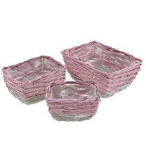 Panier carré, 3 pièces, rose-écru