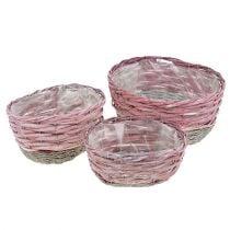 Panier rose ovale,  3 pièces, écru