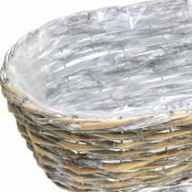 Panier de plantation, ovale, naturel, blanc lavé 37/43 / 49cm, lot de 3