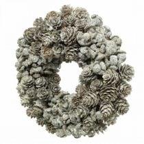 Couronne décorative cônes mélèze et cyprès blanc pailleté Ø20cm 2pcs