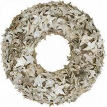 Couronne décorative étoiles écorce de bouleau Couronne de Noël bouleau Ø30cm