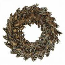 Cônes de couronne décorative Couronne de Noël marron, pailleté Ø30cm