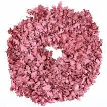 Guirlande de feuilles de chêne rose cirée Ø38cm