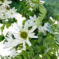 Couronne d'eucalyptus artificielle avec fougère, marguerites du cap et jasmin, couronne de porte, couronne décorative, décoration de table