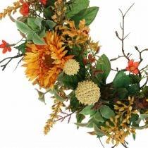 Couronne d'automne fleurs en soie gerbera jaune couronne murale Ø42cm