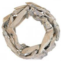 Couronne en bois de racine de bois, couronne de décoration lavée à la chaux Ø30cm H8cm