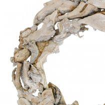 Couronne en bois racines et branches Couronne décorative blanchie Ø40cm H9cm