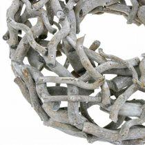 Couronne décorative, couronne en bois, gris cérusé, tire-bouchon saule Ø40cm