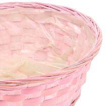 Panier en sangles tressées rond mauve/blanc/rose Ø 25 cm 6 p.