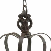 Couronne en métal à suspendre avec crochets brun rouille Ø11cm H17cm